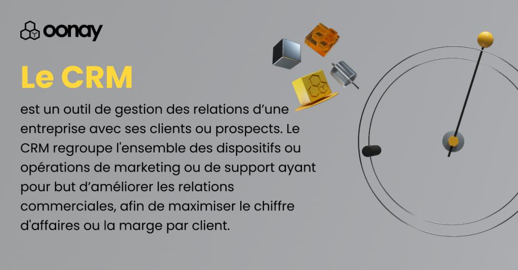 Le CRM est un outil de gestion d'une entreprise avec ses clients ou prospects. Le CRM regroupe l'ensemble des dispositifs ou opérations de marketing ou de support ayant pour but d'améliorer les relations commerciales, afin de maximiser le chiffre d'affaires ou la marge par client